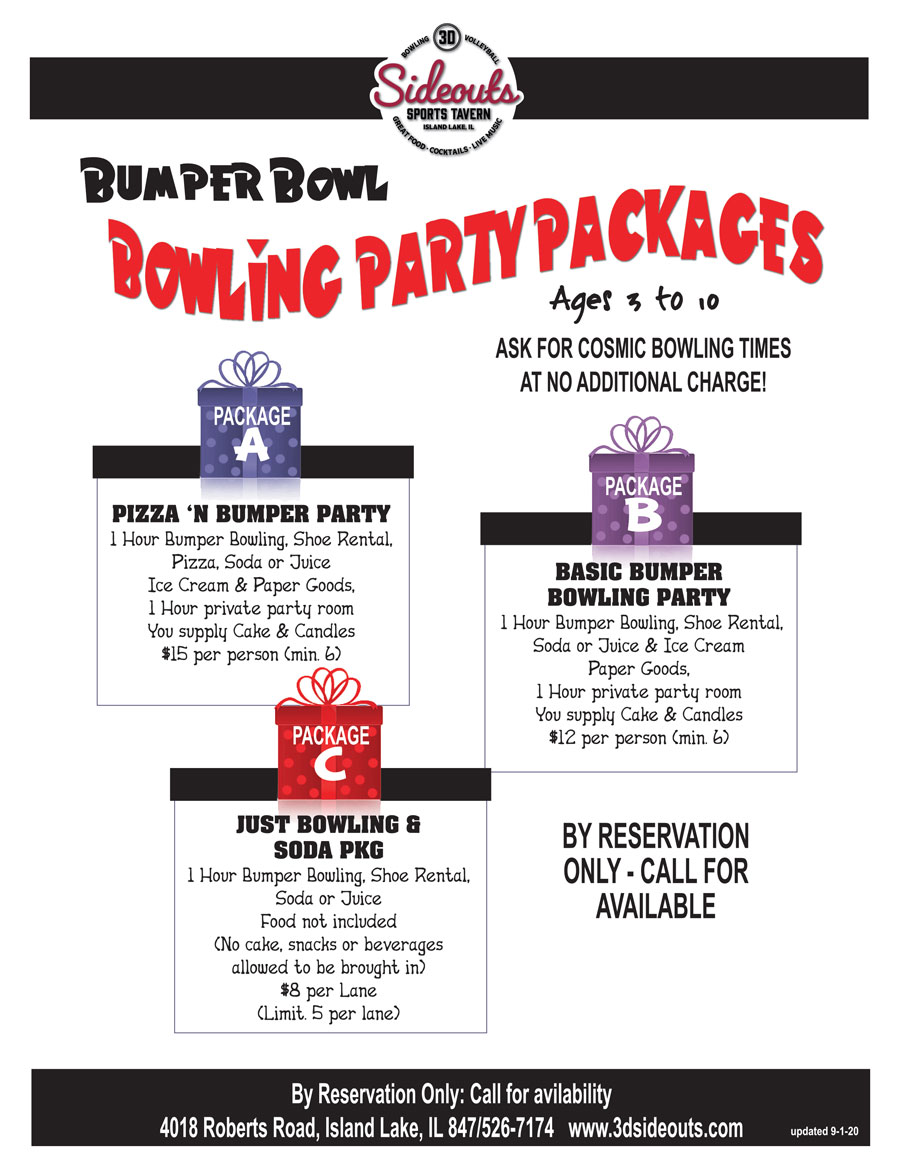3D Sideouts Group Bowling Party Package