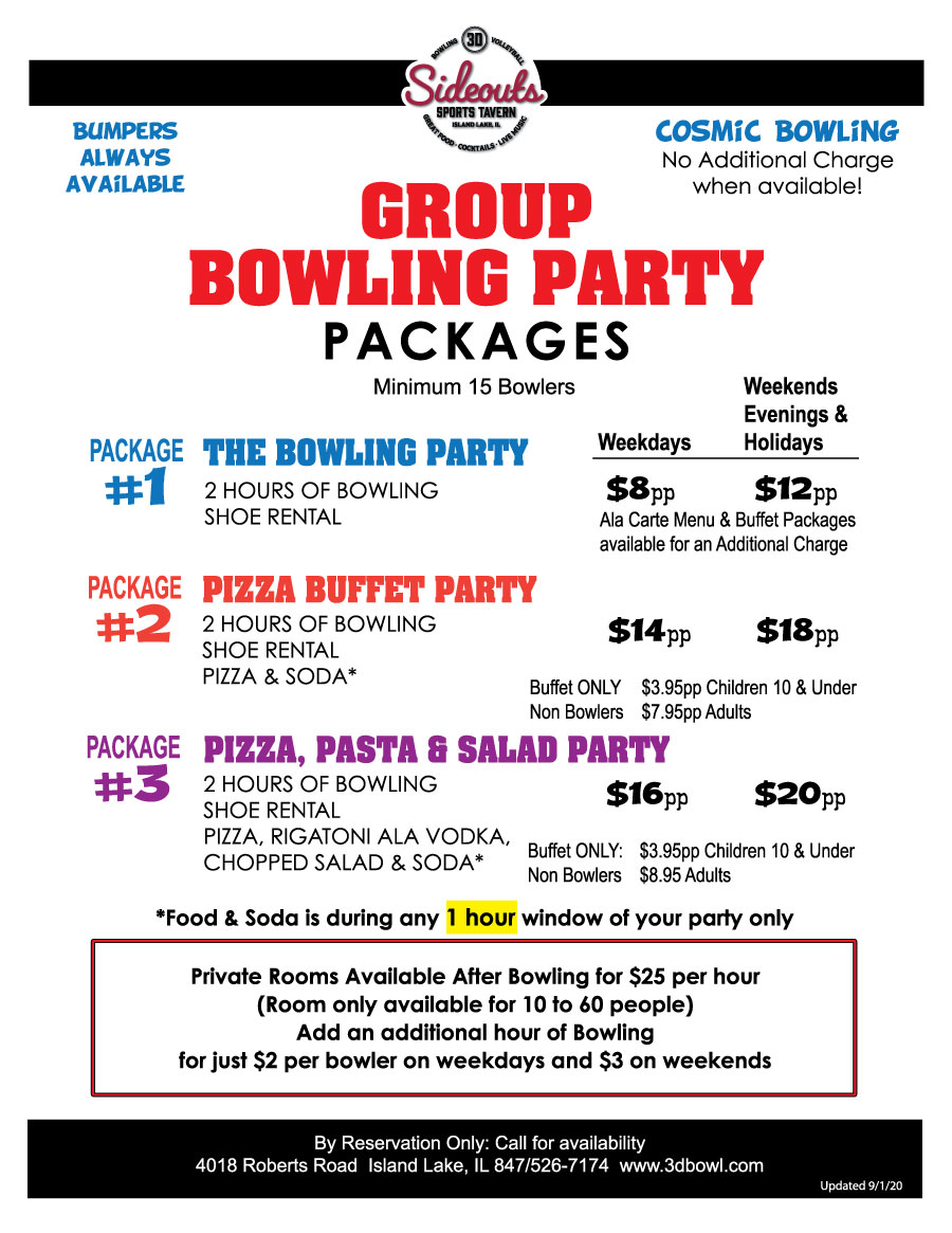 3D Sideouts Group Party Packages