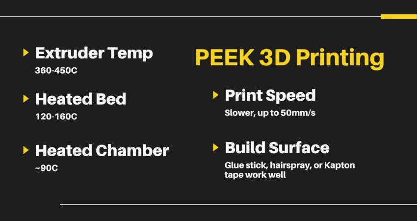 peek 3d printing settings