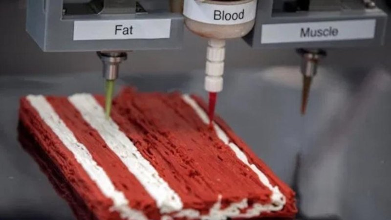 meat 3d printing fat blood and muscle to mimic real meat textures