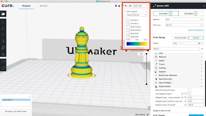 cura, a free 3D slicer for keeping down costs