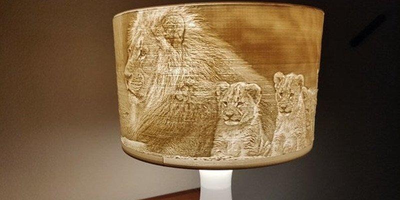 A 3D printed lithophane lamp shade