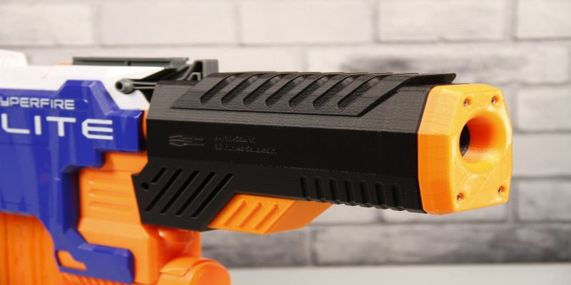 3D Printed Nerf Gun Barrel Extension Suppressor