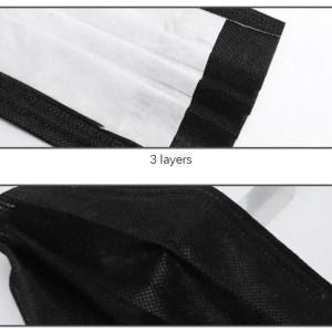 Maska troslojna črna 10 kosov 02