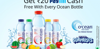 paytm ocean fruit water bottle rs20 free paytm cash loot