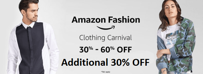 749fb21c2e2 Amazon Clothing Carnival   Get Brands Clothing Upto 60% Off + Extra 30%  Discount