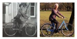 Sheila and her bikes - then and now