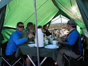 Mealtime on a previous Exodus Kili trip