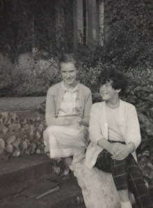 Leslie and Sheila on their grandparents' steps. With cushions!
