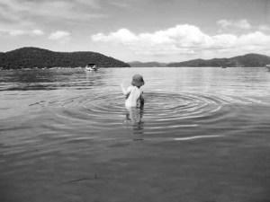 Samson enjoying a dip