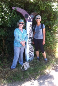Anne and Sheila on the walk to Whitstable on the Crab and Winkle Way