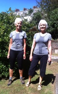 Sheila and Pat in their identical Aldi t-shirts outside pilates