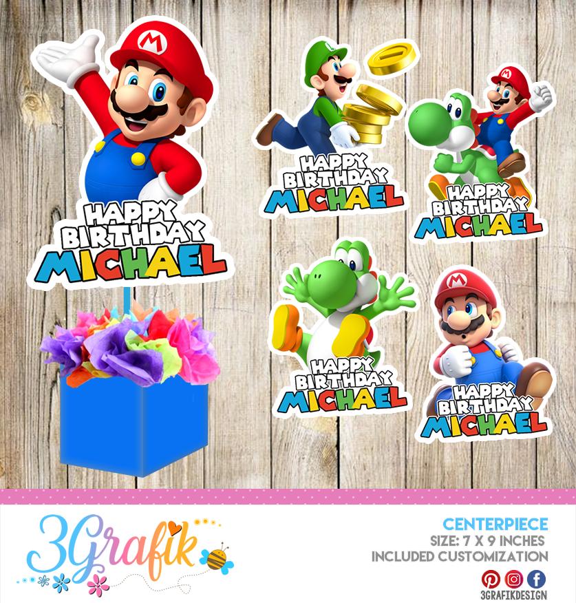 Super Mario Bros Centerpiece Edit Download And Print Party Supplies
