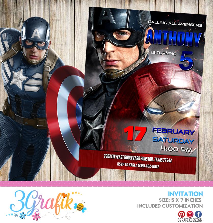 captain america invitation
