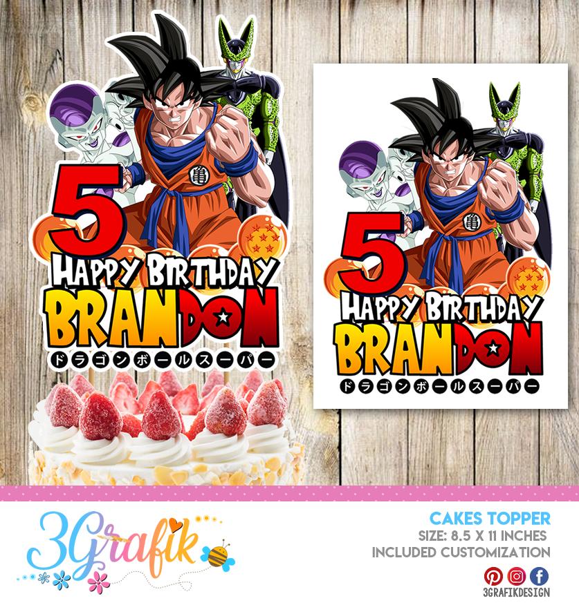 Dragon Ball Z Cake Topper Digital Dragon Ball Z Birthday Cake Topper