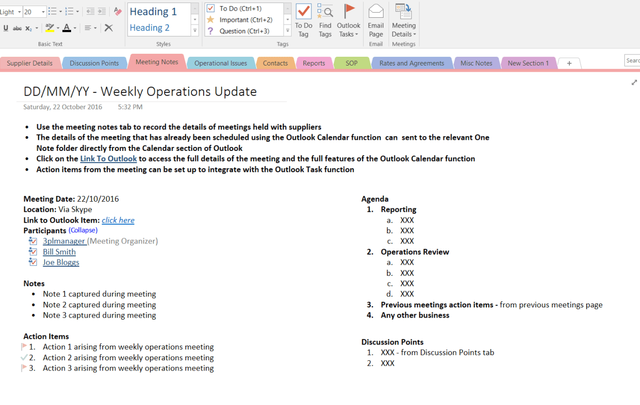 Sample of OneNote Meeting Notes and Actions Page