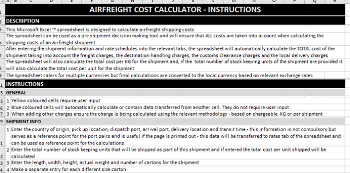 air freight cost calculator instructions