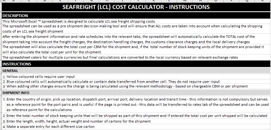 sea freight cost calculator instructions