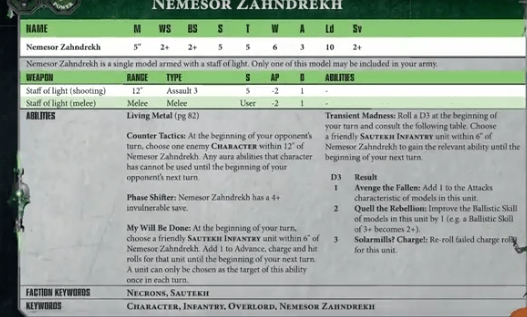 Necron Codex Leak - 3++