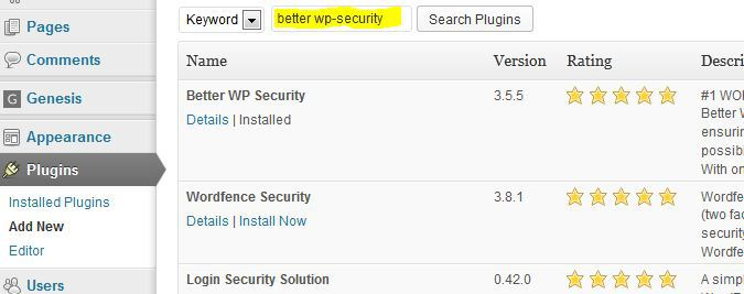 installing better WP security plugin Correctly