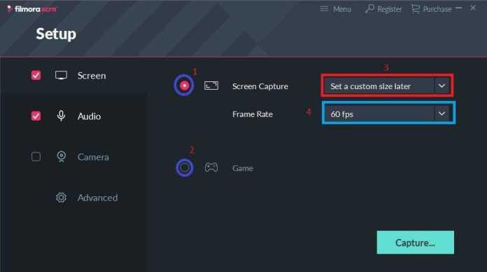 Filmora screen recoder setup