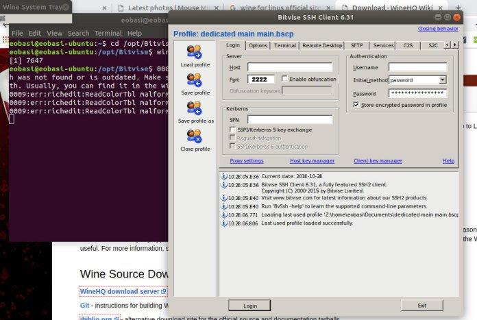 run bitvise on linux-MacOS