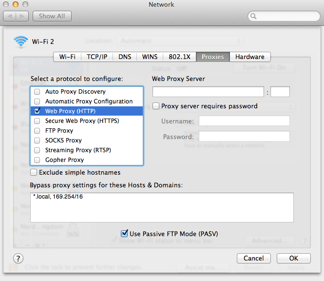 how to setup a proxy in Safari