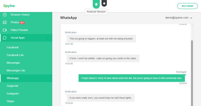spyine whatsapp spy function