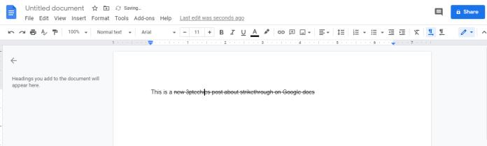 Strikethrough on Google Docs