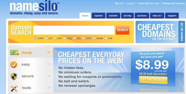 latest namesilo review - their prices