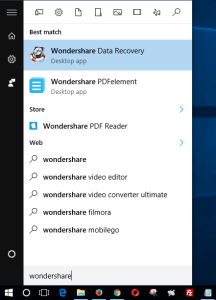 launch wondershare file recovery app