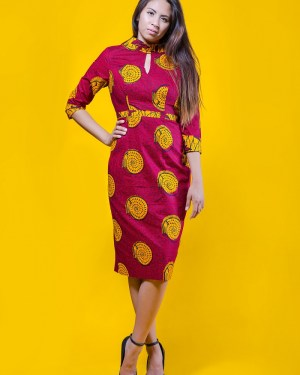 The Lynn Dress 3reec's Chic Creations and Collections Red Yellow Ankara Dashiki Kente African Print Ankarastyles Ethnic Tribal Midi Dress