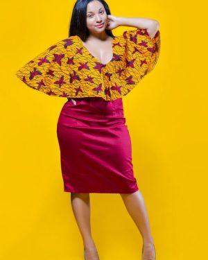 Red Yellow 3reeCs Butterfly African Print Ankara Wax Print Dress