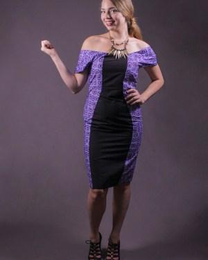 The Lola Dress 3reec's Chic Creations and Collections Black Purple Ankara Dashiki Kente African Print Ankarastyles Ethnic Tribal Midi Dress