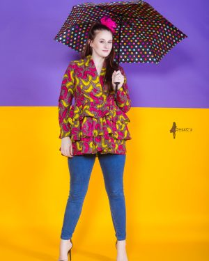 The Wildflower Peplum Jacket 3reec's Purple Pink Yellow Brown Floral Abstract Ankara African Print Dashiki Retro Chic Fashion Spring Summer 2017 Freedom Collection SS17