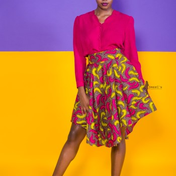 The Wildflower Skater Skirt 3reec's Purple Pink Yellow Brown Floral Abstract Ankara African Print Dashiki Retro Chic Fashion Spring Summer 2017 Freedom Collection SS17