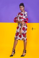 The Hibiscus Bella Dress 3reec's Red White Blue Floral Ankara African Print Dashiki Midi Retro Chic Fashion Spring Summer 2017 Freedom Collection