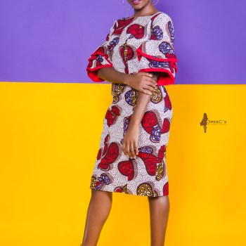 The Hibiscus Bella Dress 3reec's Red White Blue Floral Ankara African Print Dashiki Midi Retro Chic Fashion Spring Summer 2017 Freedom Collection