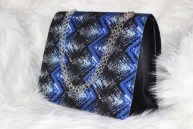 3reec's Blue Midnight Sky Ankara Handbag African Print Dashiki Handmade Shoulder bag Silver Metallic Chain Strap Classy Chic