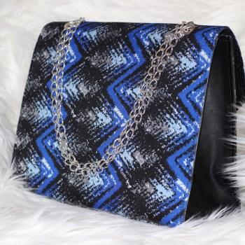 3reec's Blue Midnight Sky Ankara Handbag African Print Dashiki Handmade Shoulder bag Silver Metallic Chain Strap Classy Chic