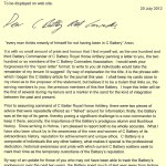 BC C Battery Letter Major Thomson 30/07/2012