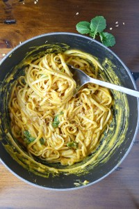 pumpkin linguine with kale and walnuts