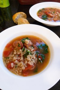 andouille sausage, kale, and barley stew
