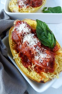 spaghetti squash with italian turkey meatballs