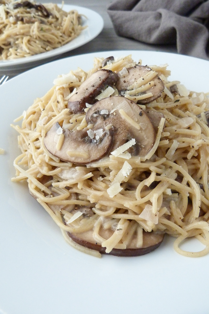 whole wheat capellini with mushrooms and shallots