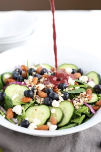best blueberry spinach salad with candied almonds