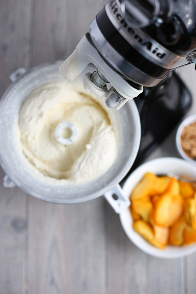 slow churn homemade peach ice cream