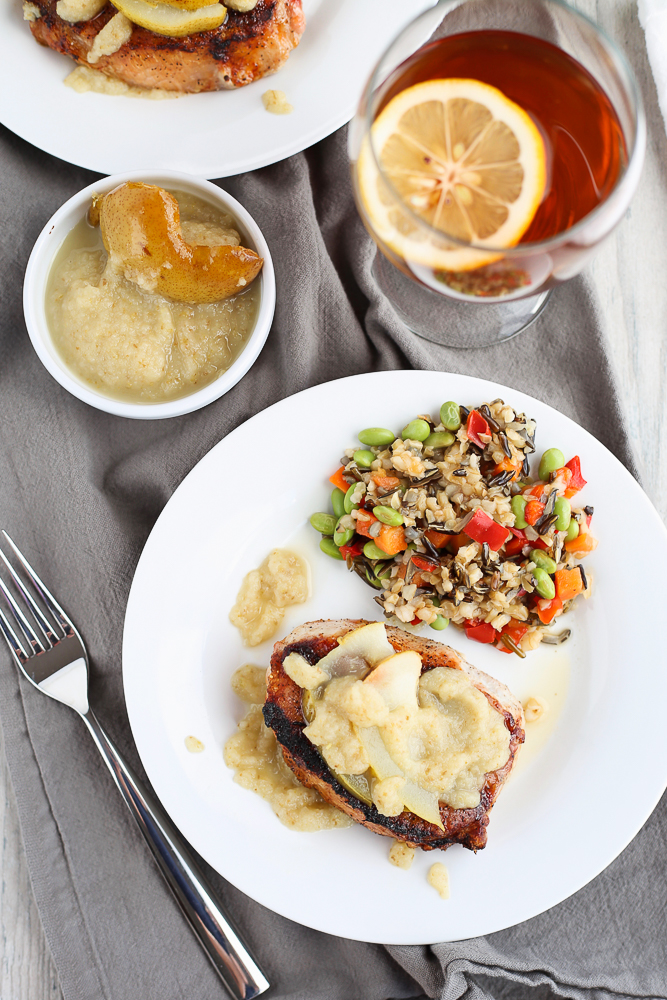 grilled pork chops with pear and ginger sauce