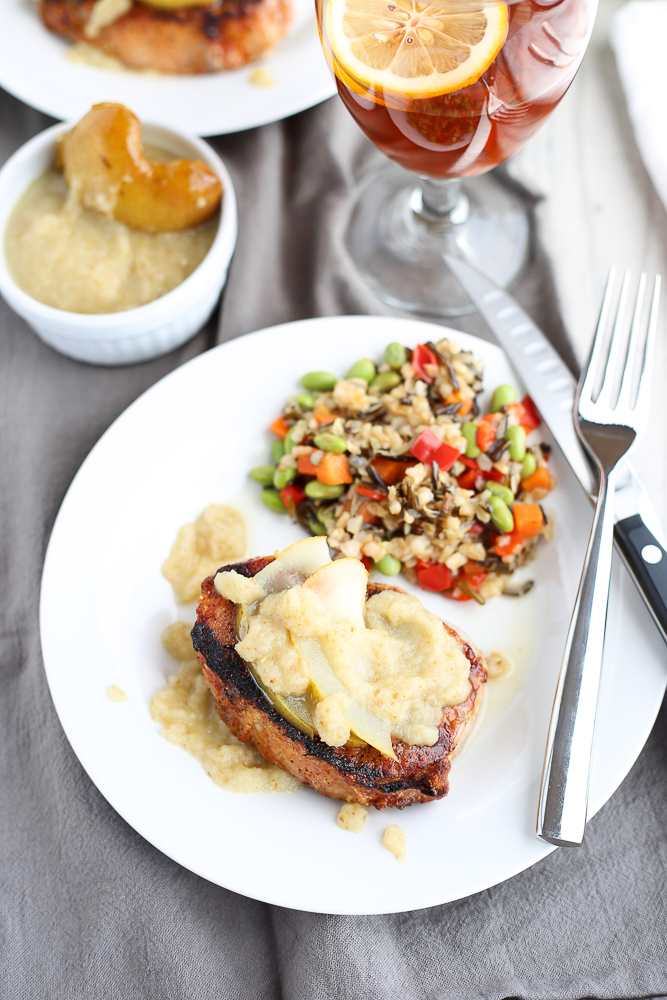 Grilled Pork Chops with Pear and Ginger Sauce - 3 Scoops of