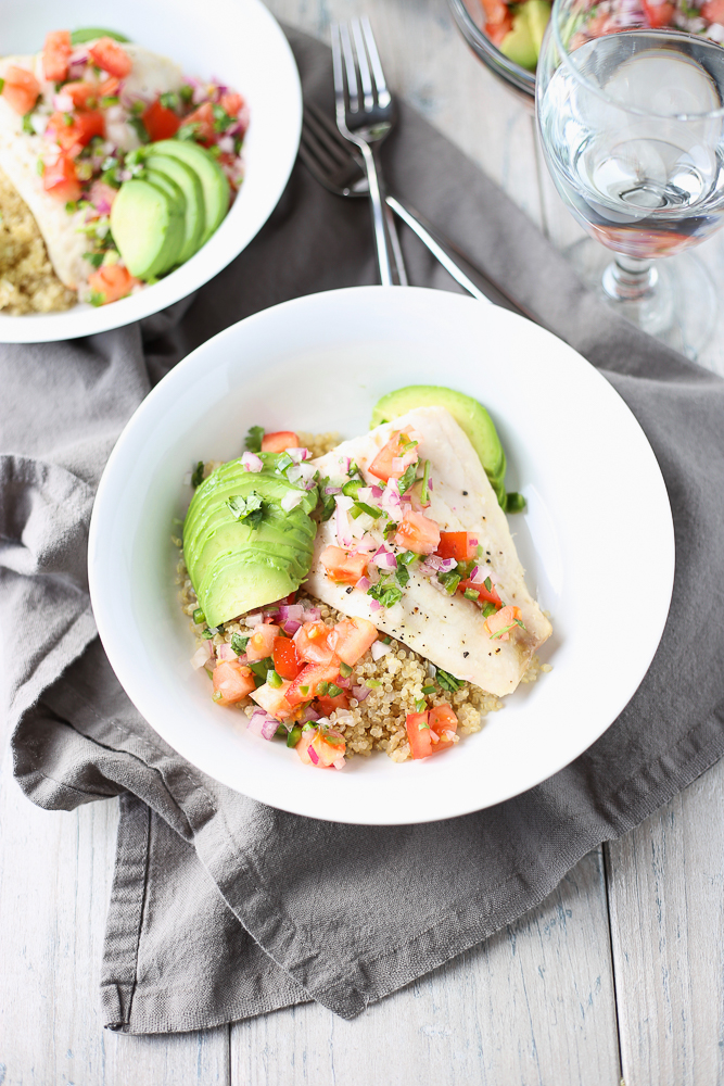red snapper with avocado and tomato salsa and quinoa